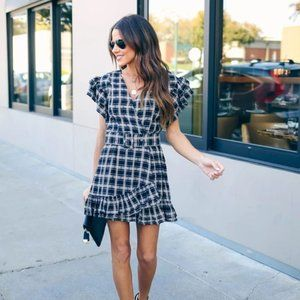 VICI FROLIC FOR FALL COTTON PLAID BELTED RUFFLE DR